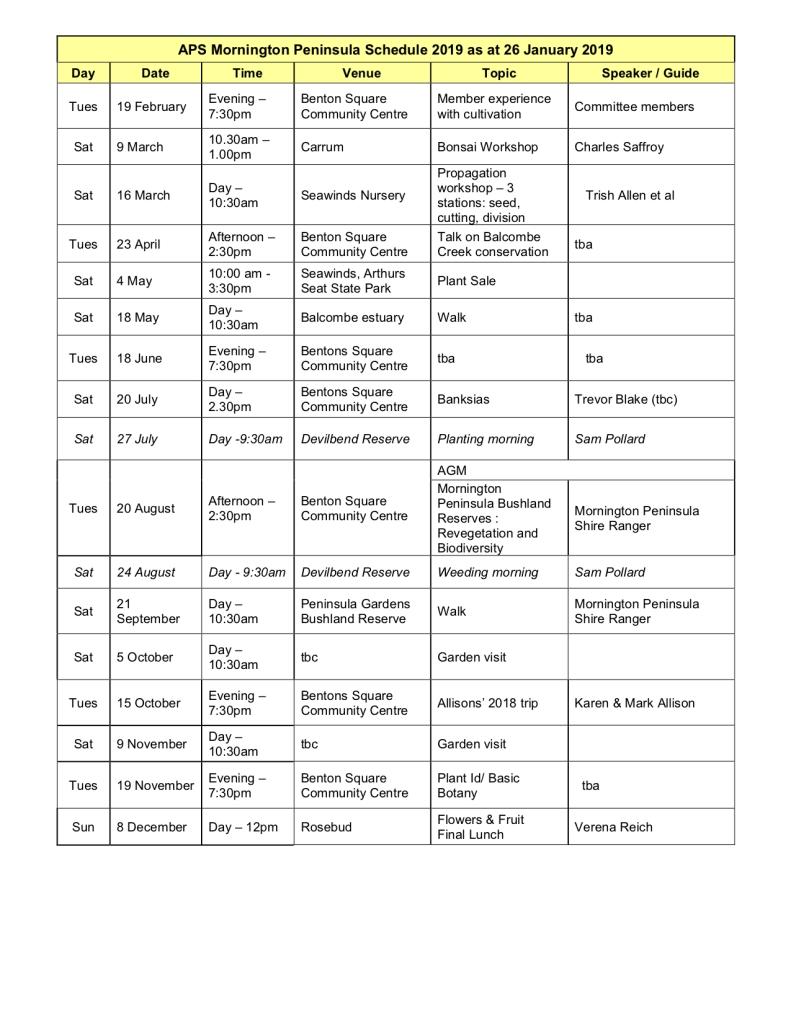 Aps Mornington Peninsula Activities Calendar 2019 Aps Mornington